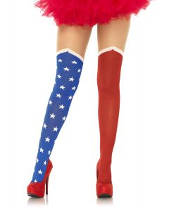 Leg Avenue American Hero Sheer Thigh Opaque Tights, Red White Blue, One-Size