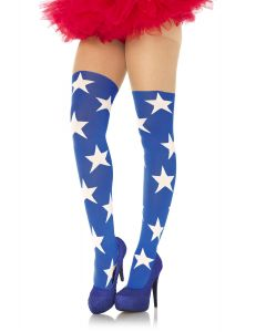 Leg Avenue Superstar Hero Sheer Thigh Opaque Tights, Blue White, One-Size
