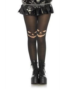 Leg Avenue Creepy Jack-O-Lantern Face Tights, Black Nude, One-Size