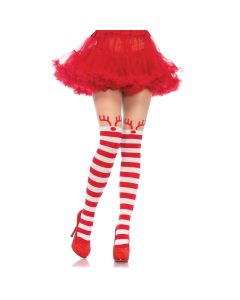 Leg Avenue Sexy Christmas Reindeer Striped Pantyhose, Red White, One-Size