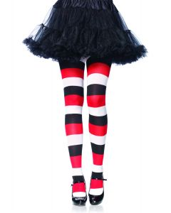 Leg Avenue Darling Doll Horizontal Stripe Tights, Red Black, One-Size