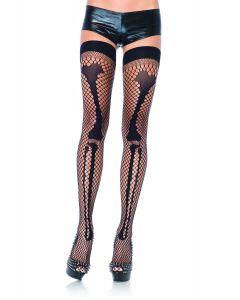Leg Avenue Fishnet Leg Bone Skeleton Thigh-Highs, Black, One Size 90-160lbs