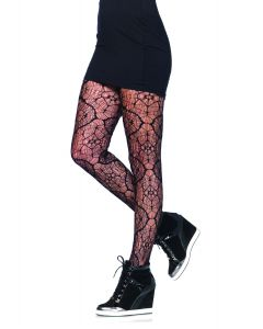 Leg Avenue Sexy Stained Glass Woven Web Shaped Tights, Black, One-Size