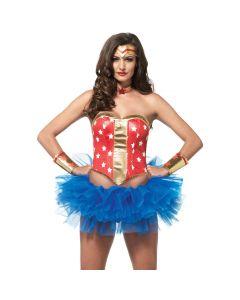 Leg Avenue Super Hero 4pc Women Costume Accessory Set, Red Gold, Small 4-6