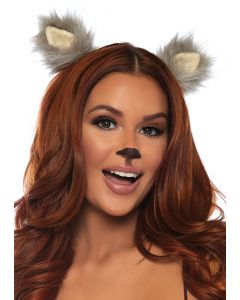 Leg Avenue Costume Furry Animal Clip In Accessory Ears, Grey Black, One-Size