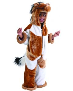 Zip Up Hooded Jumpsuit With Attached Mane And Tail