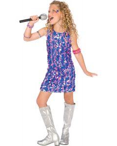 Living Fiction Planet Pop Star Sequin Diva Dress Girl Costume, Blue Purple