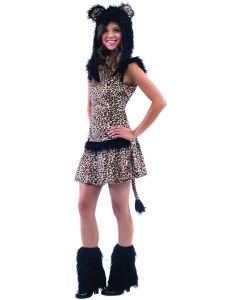 Leopard Girls Tween Halloween 4pc Teen Costume, Small 12-14, Brown