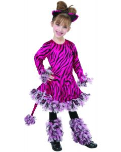 Living Fiction Adorable Tiger 3pc Girl Costume, Small 4-6, Pink