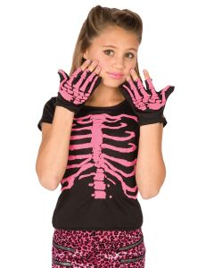 Pink Skeleton Shirt and Gloves 2pc Girl Costume, One Size, Black Pink