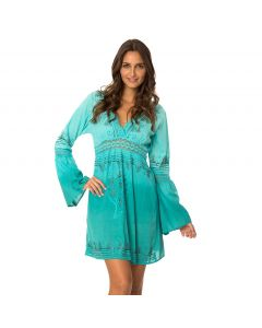 Moroccan Moon Dress Dip Dyed Embroidered V-Neck Cover Up, Mint, Medium 5-6