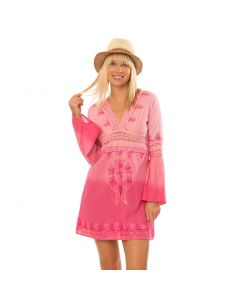 Lagaci Moroccan Moon Dress, Dip Dyed Embroidered V-Neck Cover Up w Bell Sleeve