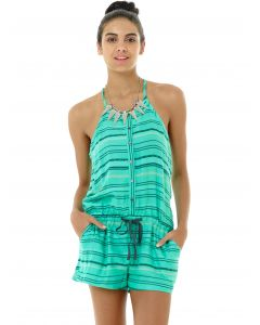 Lagaci Kiss and Tell Woven Cotton Drawstring Romper, Mint, Large 7-8
