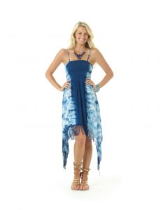 Lagaci Boho Ballerina Tie Dye Fringe Hem Dress, Navy White, Medium 5-6