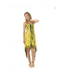 Lagaci Boho Ballerina Tie Dye Fringe Hem Dress, Yellow White, Small 3-4