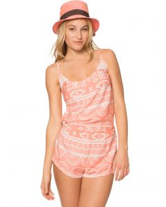 Lagaci French Maverick Detailed Aztec Print Open Back Romper, Peach