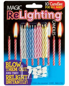 Loftus Magic Trick Relighting Birthday Candles, 10CT, Assorted Colors