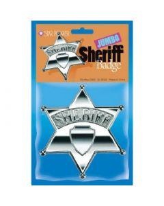 "Star Power Jumbo Police Sheriff Plastic Badge, Silver, 5""x4.5"""