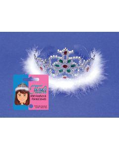 Star Power Feather & Jewel Princess Plastic Tiara, Silver, One Size