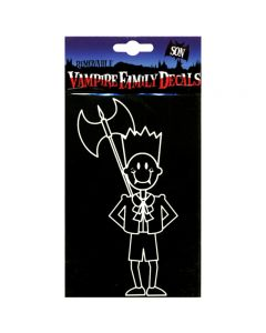 "Kalan Removable Vampire Son Family Car Decal 5""x3.5"" Window Cling, White Black"