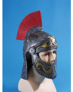 Loftus Roman Gladiator Costume Helmet With Face Cover, One Size, Grey Red