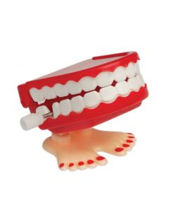 Display of Hopping Chattering Funny Teeth 2in Wind-Up Toys, Red White, 12 Pack