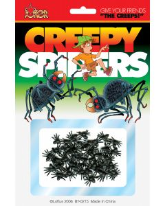 Joker Creepy Mini Spiders Decoration Pack, Black, 16 CT