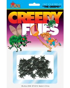 Joker Creepy Realistic Mini Fly Insect Prank Decoration Pack, Black, 45 CT