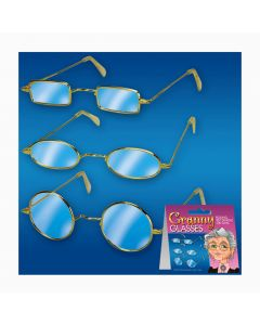 Old Lady Granny Assorted Lens Shape 12pc Costume Glasses, Metallic, One Size, 12 Eachs