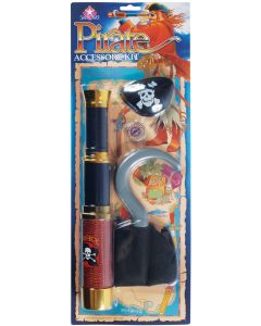 Star Power Pirate 4pc Costume Accessory Set, Black Brown Gold, One Size