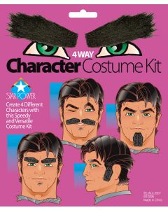 4-Way Character Eyebrow & Mustache Facial Hair Accessory Kit, Black, One-Size