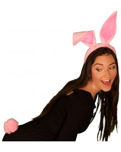 Pink Easter Bunny Rabbit Ears And Tail Set 2pc Accessory Kit, One-Size