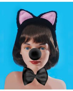 Loftus Sexy Cat Ears, Nose, & Bowtie 3pc Accessory Kit, Black, One-Size