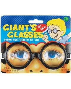 Loftus Mad Scientist Round Enlarged Eyes Glasses, Black, One Size