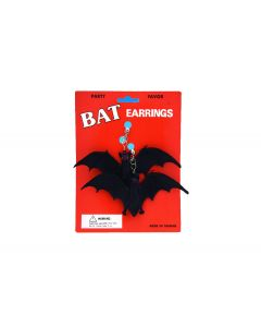 Halloween Non-Treat Rubber Bat Clip On Earrings, Black, One Size, 6 Pairs