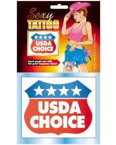 Loftus USDA Choice Humorous One Size Temporary Tattoo, Red White Blue