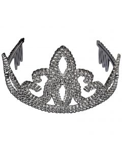 Royalty Queen Shiny Plastic Crown Costume Tiara, Silver, One Size, 6 Pack