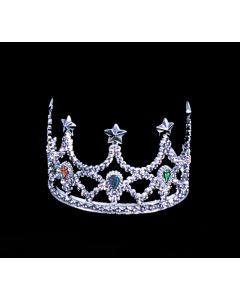 Star Power Queen Shiny Jeweled Plastic Star Crown, Silver, One Size