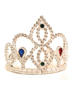 Veil Entertainment Princess Shiny Colored Round Jewels Crown, Silver, One Size