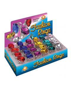 Loftus Fancy Giant Colored Jewel Princess Costume Rings, One Size, 24 CT