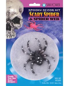 Scary Polka-Dotted Decoration Spider & Stretchy Web 4 in Spider, Black White