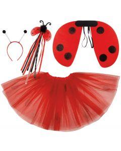 Ladybug Wings Skirt Headband Wand Girls 4pc Costume Set, Red Black, One-Size