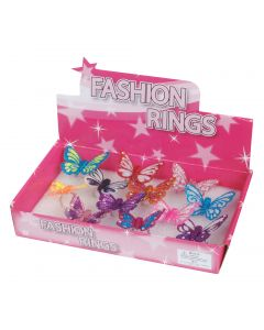 Loftus Glitter Multicolored Butterfly Costume Rings, One Size, 12 CT