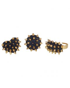 Loftus Punk Golden Spikes Fashion Costume Rings, Black Gold, One Size, 24 CT