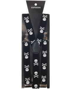 Star Power Pirate Skull & Crossbones Adjustable Suspenders, Black, One Size