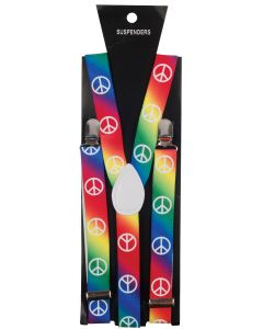 Star Power Peace Sign Hippie Rainbow Adjustable Suspenders, One Size