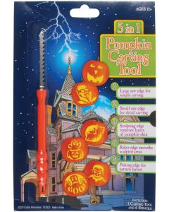 Halloween 5-in-1 Multi Tool & Stencils 7pc Pumpkin Carving Kit, Orange, 12 Sets