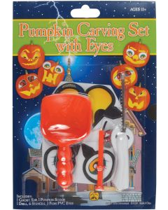 Stencils & PVC Eyes Deluxe 12pc Pumpkin Carving Kit, Orange, 6 Sets