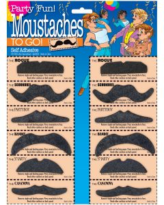 Star Power Moustaches 12pc Costume Accessory Set, Black, One Size