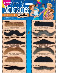 Assorted Moustaches 12pc Costume Accessory Set, Black Brown Gray, One Size